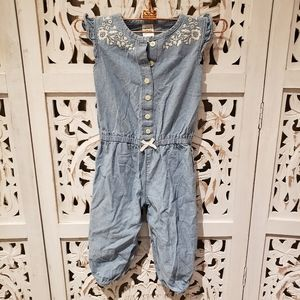 Blue Jean Romper With Floral Embroidery
